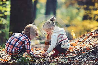 Little boy and girl friends have fun on fresh air. Children pick acorns from oak trees. Brother and sister camping in
