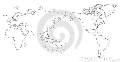 World Map Outline Contour Silhouette