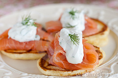 Pancake with salmon and sourcream