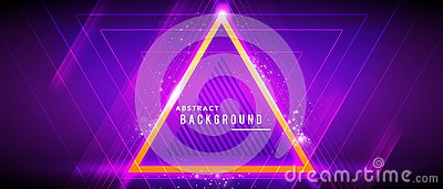 Vector illustration neon glowing techno lines, hi-tech futuristic abstract background template with triangle shapes