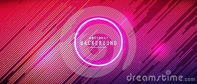 Vector illustration neon glowing techno lines, hi-tech futuristic abstract background template with red lines