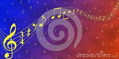 Yellow Music Notes in Blue and Red Banner Background