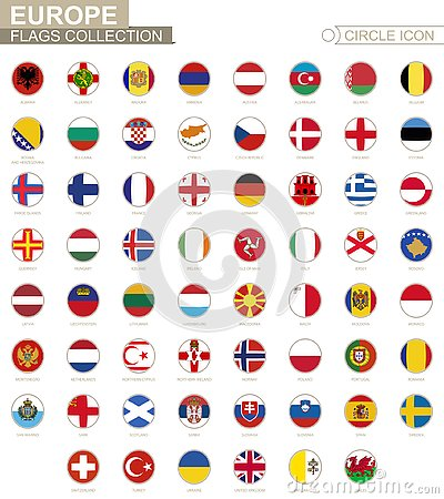 Alphabetically sorted circle flags of Europe. Set of round flags