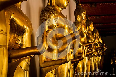 Buddha images in the Wat Pho Buddhist temple complex in Bangkok