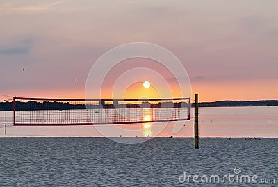 Beautiful sunset shots taken at the beach of Laboe in Germany on s sunny summer day