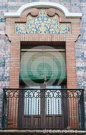 Brick ornament traditional window and balcony spanish style with stucco decoration