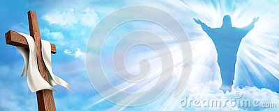 Web banner Resurrection. Christian cross with risen Jesus Christ and clouds sky background. Life after death