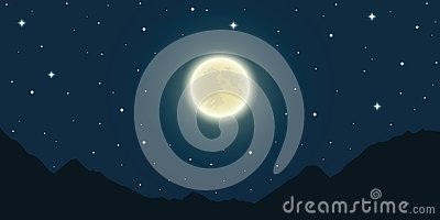 Full moon and starry sky in the mountains