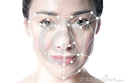 Face detection or facial recognition grid overlay on face of woman