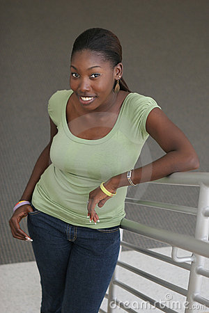 Beautiful african american university student