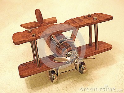 Model wooden toy aeroplane biplane vintage