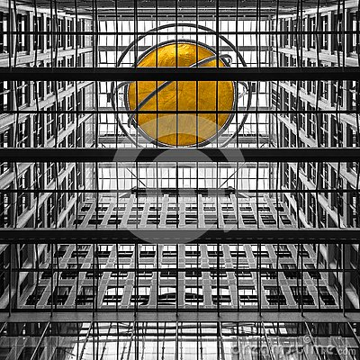 stock image of black and white abstract modern architecture and dynamic urban background