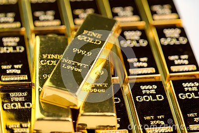 Stack of gold bar bullions ingot, investment asset for crisis safe haven for investment or reserve for country economics