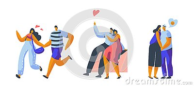 Love Couple Character Dating Set. Happy Lover Hug, Kiss, Sitting on Park Bench Isolated. Woman Man Romantic Flirt