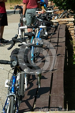 stock image of bicycles parked while the owners rest