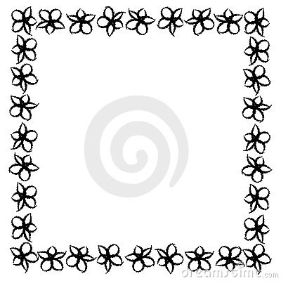 Abstract Frame Of Black Flowers