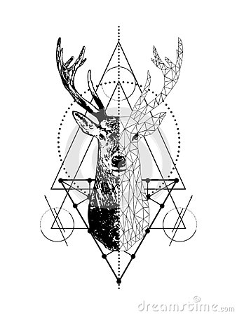 Vector creative geometric deer tattoo art style design.Low poly deer head with triangle.