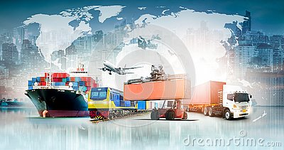 Global business logistics import export background