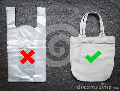 No plastic bag / Use tote bag canvas fabric cloth shopping replace say no to plastic bags