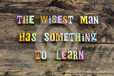 Wise man words learn ask help typography