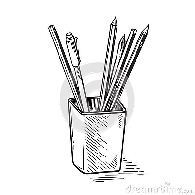 Office supplies, pens and pencils in cup vector