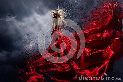 Woman in Red Dress Dance over Storm Sky, Gown Fluttering Fabric