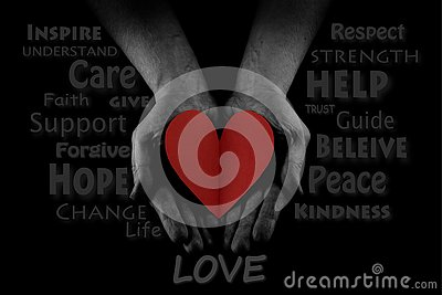 Helping hand concept, Man`s hands palms up, giving red heart, reaching out. Word Cloud