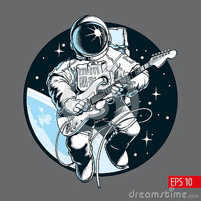 Astronaut playing electric guitar in space. Space tourist. Vector illustration