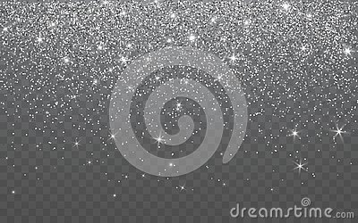 Silver glitter sparkle on a transparent background. Vibrant background with twinkle lights. Vector illustration