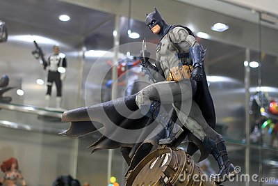stock image of batman figure model on display at the m cafe