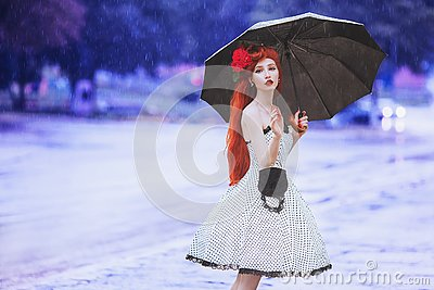 Raining weather. Autumn rain. Sick girl in anxiety in dress hold umbrella. Umbrella protection. Lonely woman with disease was