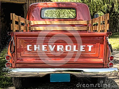 57 Chevrolet pick up truck rear view