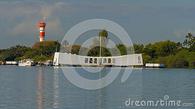 PEARL HARBOR, UNITED STATES OF AMERICA - JANUARY 12 2015: early morning reflections of the arizona memorial at pearl harbor
