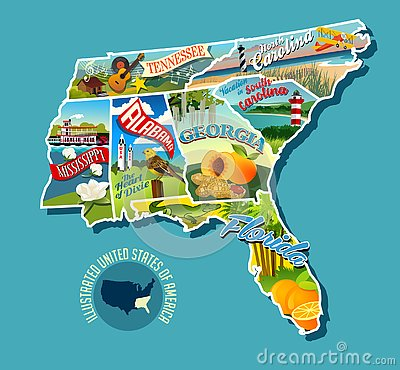 Illustrated pictorial map of Southern United States.