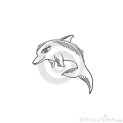 Dolphin sketch drawing icon summer themed