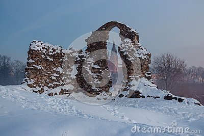 Old stone ruins in snow