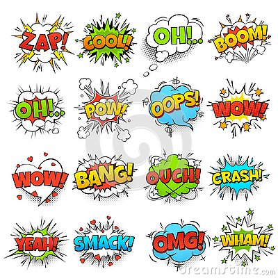 Comic words. cartoon boom crash speech bubble funny elements and kids sketch stickers vector icons set