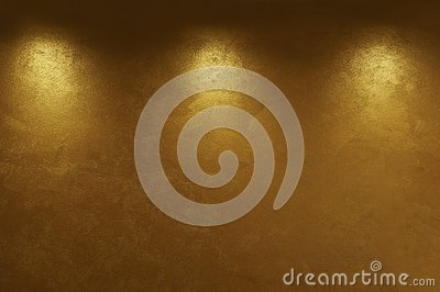Abstract gold background with three light points