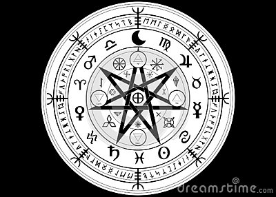 Wiccan symbol of protection. Mandala Witches runes, Mystic Wicca divination. Ancient occult symbols, Zodiac Wheel signs