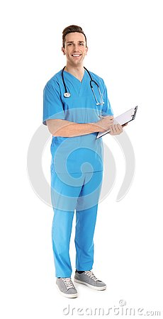Full length portrait of medical assistant with stethoscope and clipboard on white