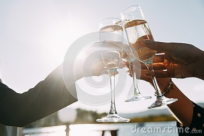Triumph. cheers, couple clink