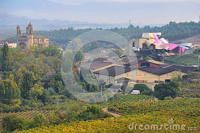 Wineries of the Marques de Riscal in the Rioja alavesa in autumn season, Spain