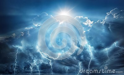 Religious and scientific apocalyptic background. Dark sky with lightning and dark clouds with the Sun that represents salvation