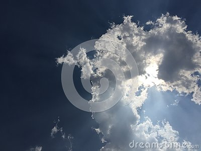 Sun covered by the cloud in the sky