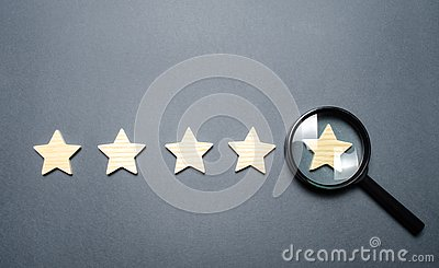 Five stars and a magnifying glass on the last star. Check the credibility of the rating or status of the institution, hotel