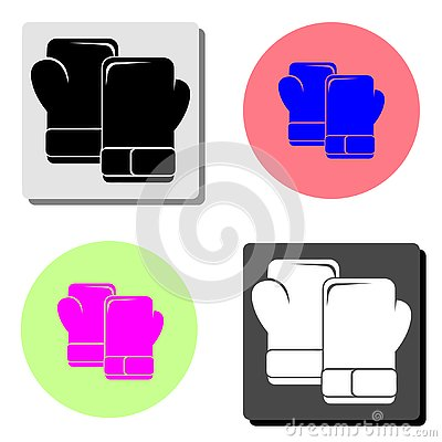 stock image of boxing gloves. flat vector icon