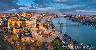 Budapest, Hungary - Aerial panoramic view of Buda Castle Royal Palace with Szechenyi Chain Bridge, Parliament
