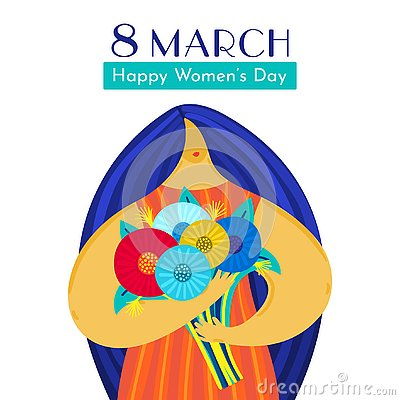 Girl with disproportionate figure holds bouquet of flowers. Flat design. Trendy style. 8 March. Happy women`s day