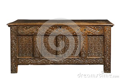 Trunk chest old oak carved coffer