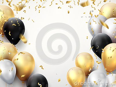 Celebration banner. Happy birthday party background with golden ribbons, confetti and balloons. Realistic anniversary